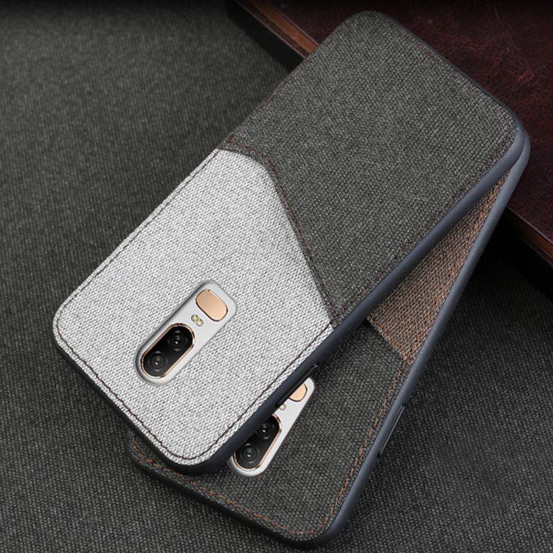 Coque de téléphone en toile pour Oneplus 5 5 T 6 T 7pro couverture arrière point fente pour carte Design étui pour Oneplus 7 pro tissu doux mince lumière