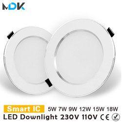 LED Downlight 3 W 5 W 7 W 9 W 12 W 15 W 18 W Ronde Encastré Lampe 220 V 230 V 240 V 110 V Led Ampoule Chambre Cuisine Intérieure LED Spot Éclairage