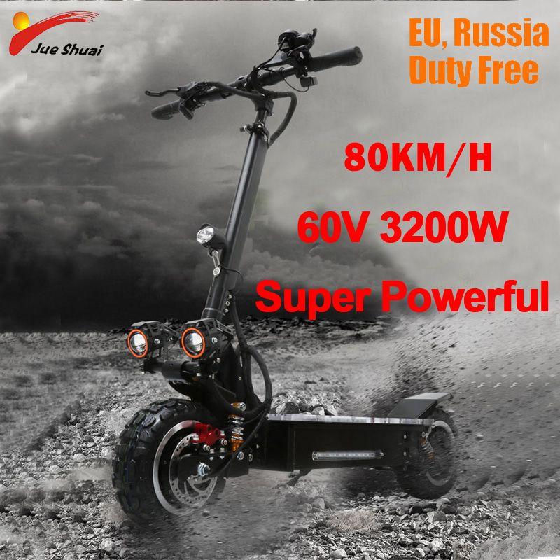 3200 W 60 V 80 KM/H Elektrische Roller 11 zoll Off Road Erwachsene Faltbare Wasserdichte Samsung Electrico Motor Hoverboad Skateboard