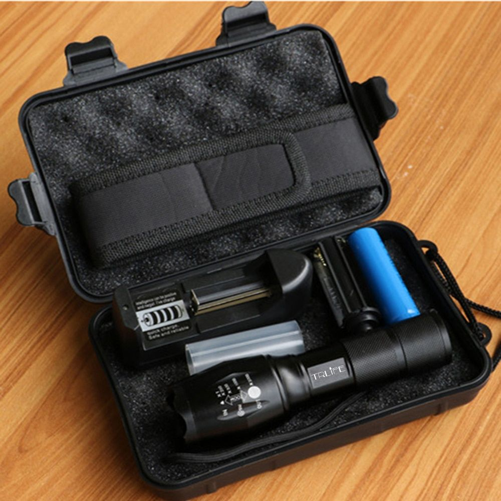 LED Flashlight Tactical Flash light 10000 <font><b>Lumens</b></font> T6/L2//V6 Zoomable 5 Modes Lanterna LED Torch Flashlights For Camping By 18650