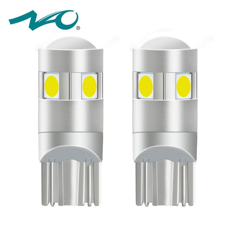 NAO 2x t10 LED Bulb w5w led Lamp Car Lights Interior Super Bright 1.6W 5 led 3030 SMD 194 168 12V 6000K White Orange Turn Signal