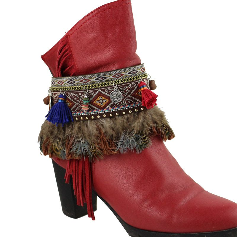 Boho Shoes Chain feather Anklets Boots Heel Chain Punk Ankle  Multilayer Tassels  Foot Jewelry Girl Bracelet