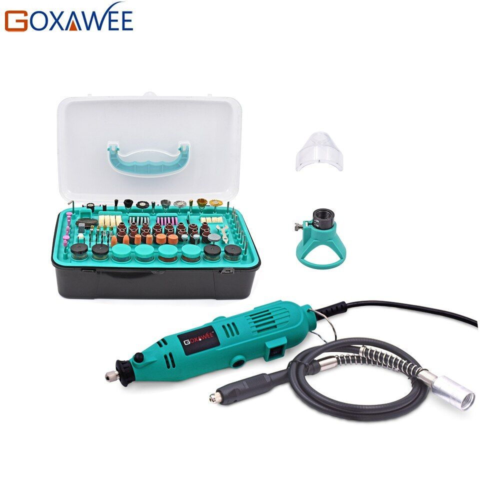 GOXAWEE 30000rpm Electric Drill Power tools Mini Grinder Rotary Tools With Flex shaft Locator Shield Polishing Tools Set