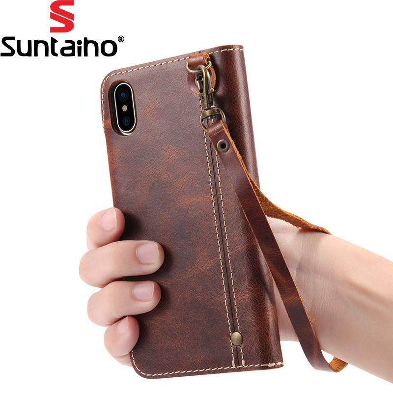 Suntaiho PU Étui En Cuir Pour iphone X Cas De Luxe Téléphone Retour couverture Avec la Carte Pocket Wallet Case Téléphone Cas Pour iPhonex couverture