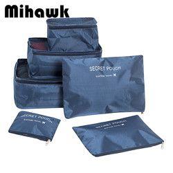 Mihawk Ensemble de 6 Traverl sacs de Femmes hommes Culotte de stockage de Soutien-Gorge Sous-Vêtements organisateur Vêtements Cosmétique sac Accessoires Nuit