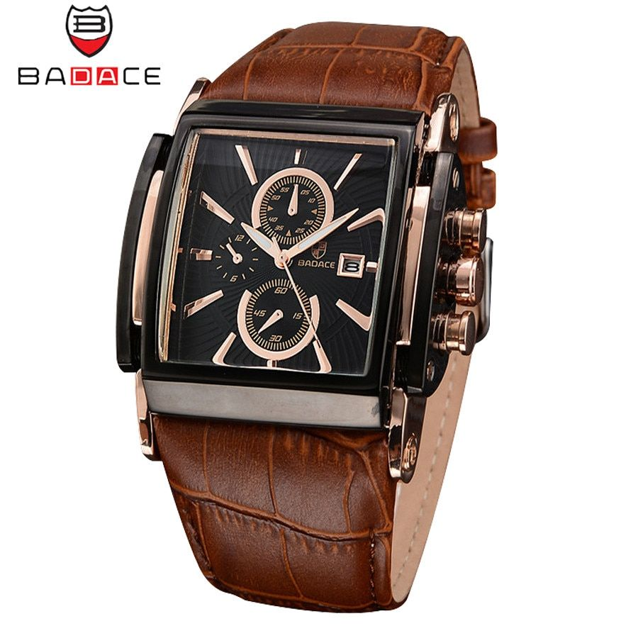 BADACE Brand Leather Strap Mens Watches Hours Casual Square Clock <font><b>Japan</b></font> Movt Quartz Men Watch Luxury Business Wrist Watch 2098