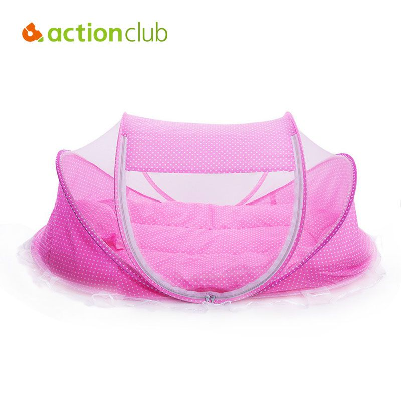 Actionclub Baby Crib Travel Bed Cotton Pillow & Pad Folding Baby Crib Portable Crib With Netting Newborn Summer Mosquito Net