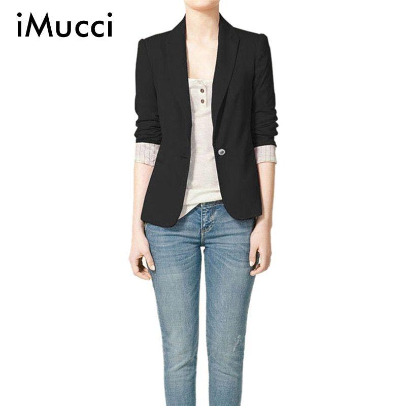 iMucci Black Women Blazers Autumn Jackets Spring Plus Size Long Sleeves Suit Lapel Coat Single <font><b>Button</b></font> Office Lady Vogue Blazers