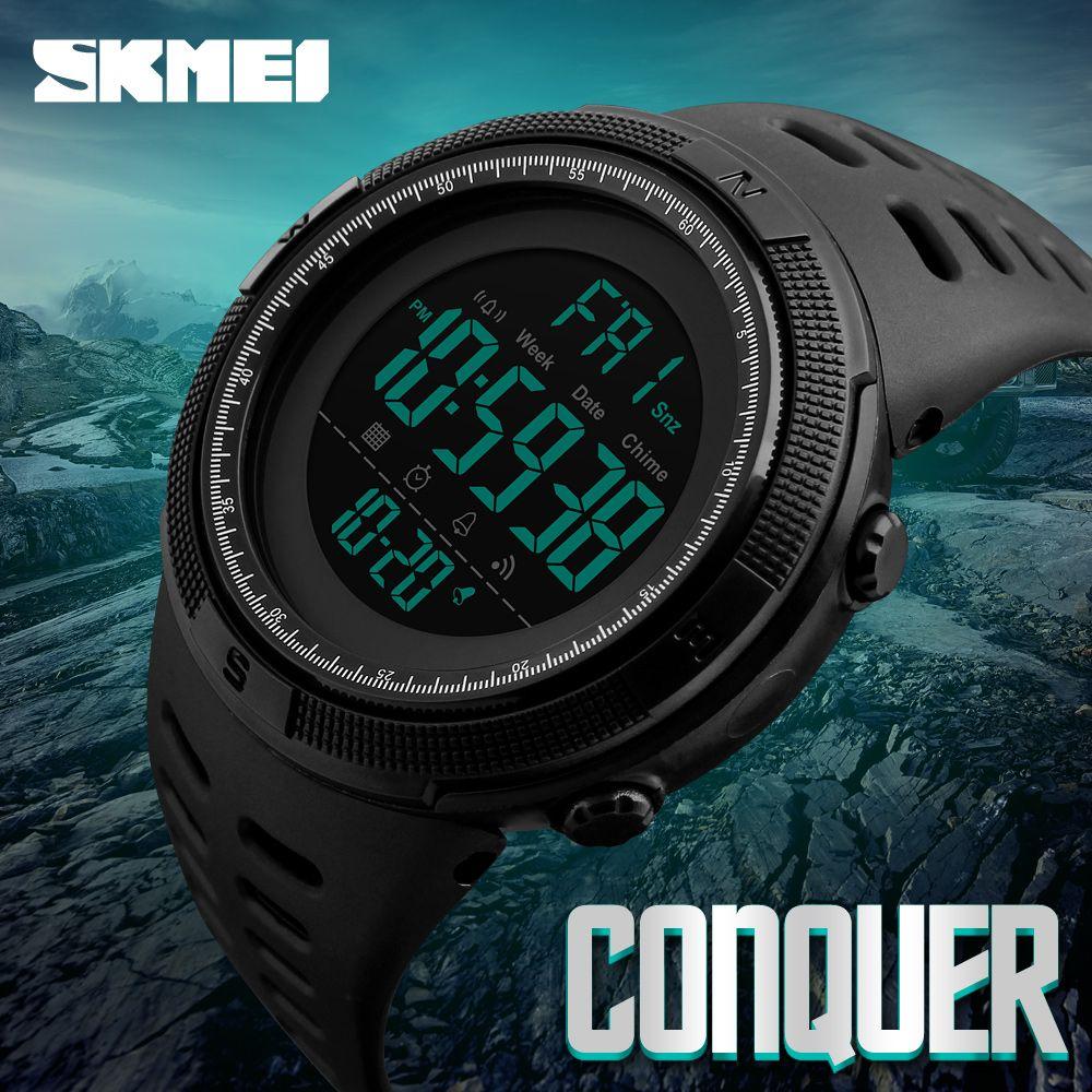 SKMEI Brand Men <font><b>Sports</b></font> Watches Fashion Chronos Countdown Men's Waterproof LED Digital Watch Man Military Clock Relogio Masculino