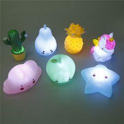 3 Unid 1,5 V unicornio luces luminosas juguetes de los niños decoración de la habitación del bebé noche silicona luces del sueño del mejor regalo