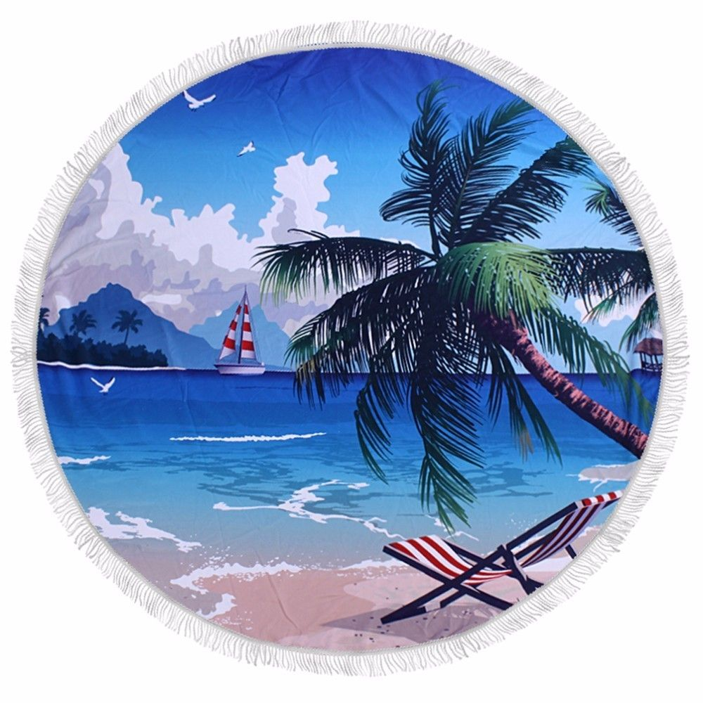 Summer Palm Banana Tree Leaves Bath Microfiber Round Beach Towel Large Picnic Beach Mats Serviette De Plage Diameter 150cm