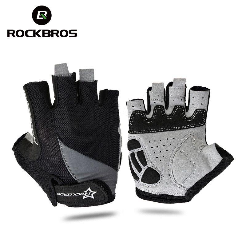 ROCKBROS Cycling Anti-slip Anti-sweat Men Women Half Finger Gloves Breathable Anti-shock Sports Gloves MTB Bike Bicycle Glove