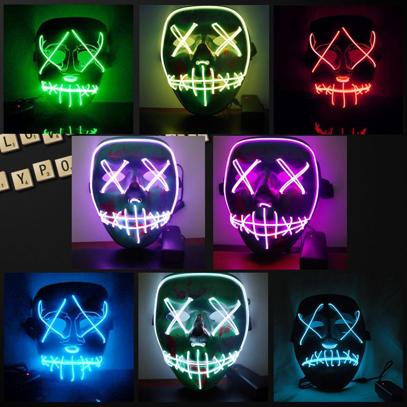Halloween Led Luminous Mask 2018 Horror Grimace Bloody EL Wire DJ Glowing Full Face Mask For Christmas Carnaval Party Club Bar