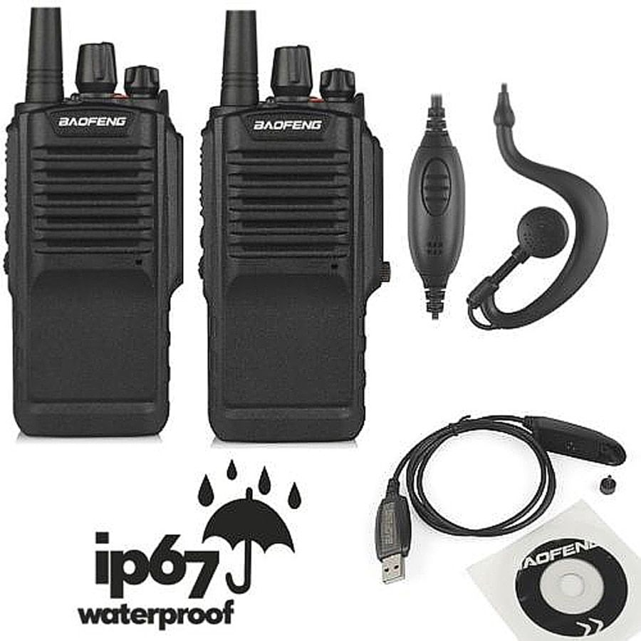 2pcs x Baofeng BF-9700 UHF 400-520MHz 5W IP67 Waterproof Ham Two-way Radio Walkie Talkie with Programming Cable and CD