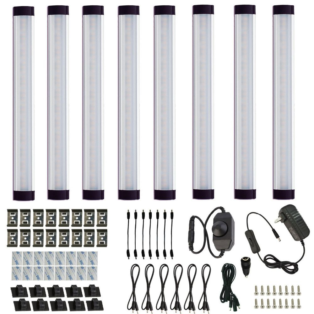 Cabinet Bar Kit Rigid LED Bar Light with Dimmer Switch Cabinet Bar Light Furniture Kitchen Cabinet Lighting Bar(8 Panels)