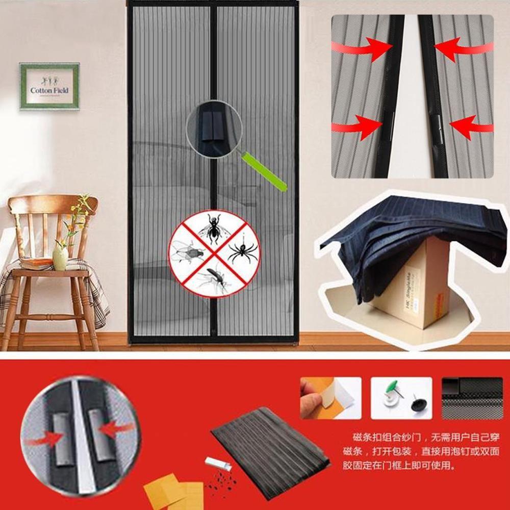 Heißer Verkauf Sommer 1 stück moskitonetz vorhang magneten tür Mesh Insekt-fliegen-wanzen-moskito-tür-fenster Vorhang Magnetstreifen-fliegen-moskito-fenster-netz-filet Maschensieb magneten