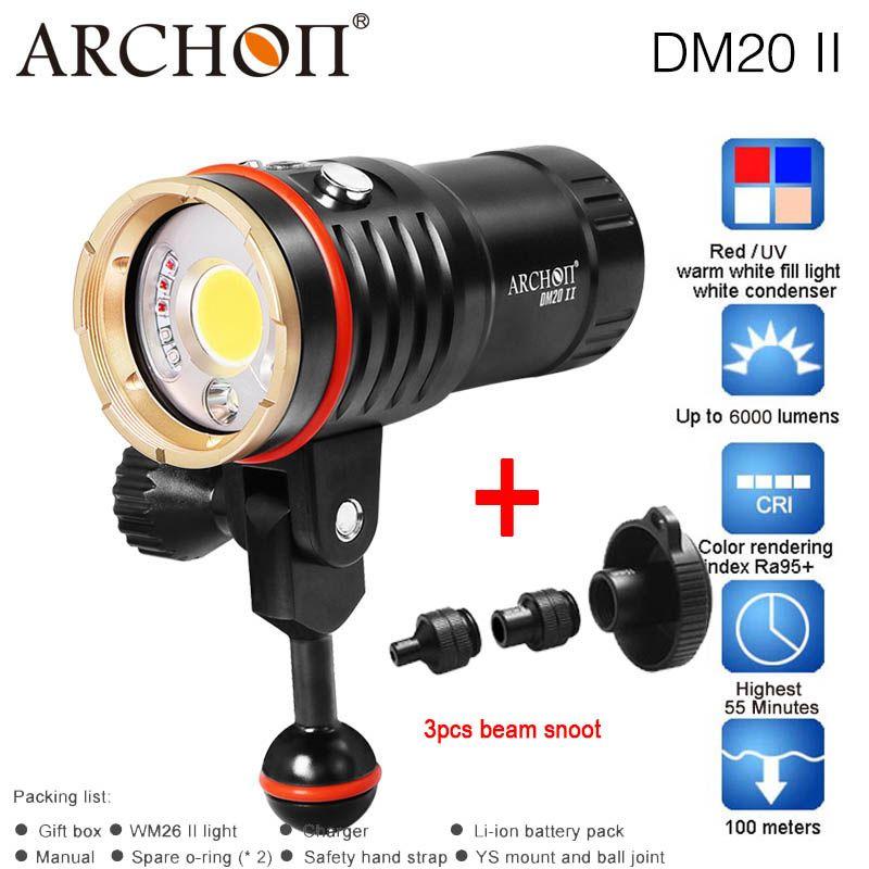 ARCHON DM20 WM26 DM20-II WM26-II Aluminium Wasserdichte XML2 U2 6000LM 4 Farbe Licht Farbton Tauchen LED Taschenlampe + 32650 batterie