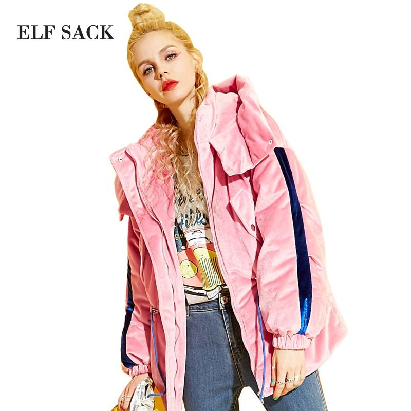 ELF SACK Winter Samt Baumwolle Gefütterte Jacke 2017 Frauen Plus Größe Taille Baumwolle Kleidung Stitching Hooded Winter Mäntel