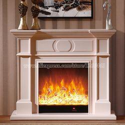 Calefacción decorativa chimenea conjunto W120cm madera más chimenea eléctrica insertar quemador LED óptica llama artificial