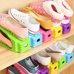 Durable plástico moderno doble almacenamiento de zapatos de Rack sala de estar conveniente Shoebox zapatos organizador Stand estante