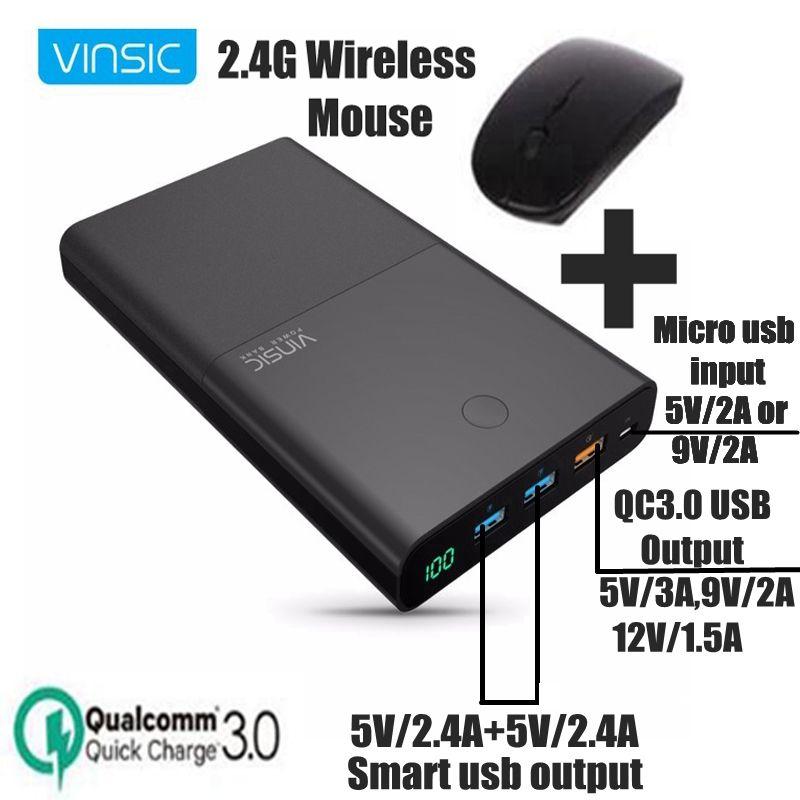 Vinsic 28000 mah Power Bank Quick Charge 3,0 Power QC 3,0 Schnelle Ladegerät für Mi5 Samsung Galaxy S8 LG Mobile telefon Ladegerät