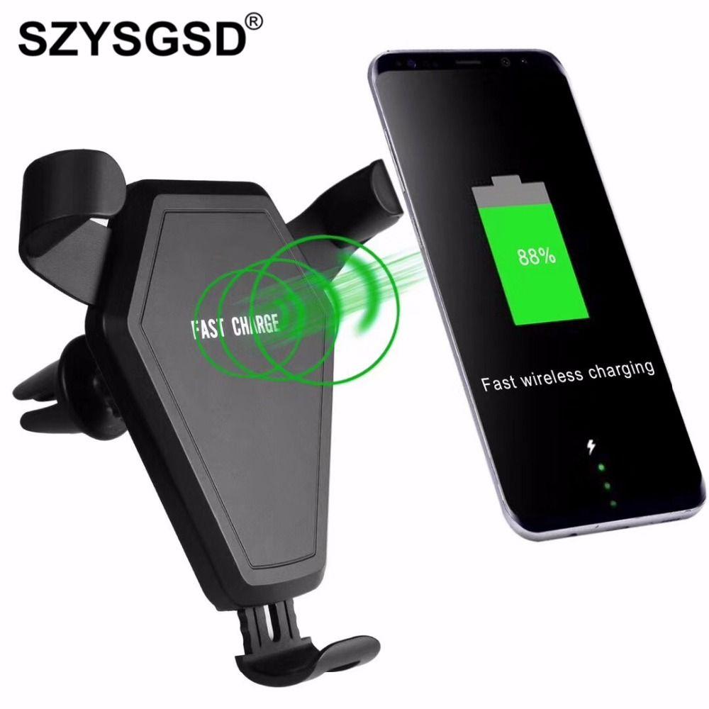 Multi-funtion Qi Wireless-ladegerät Lade-Pad Telefon Halter Drahtlose Auto ladegerät Für Samsung S6 S7 S8 Note5 S6 rand + S7 rand