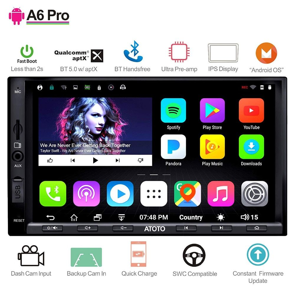 ATOTO A6 2 Din Android Auto GPS Stereo Player/2x Bluetooth & aptX & IPS Display/A6Y2721PRB// indash Multimedia Radio/WiFi USB