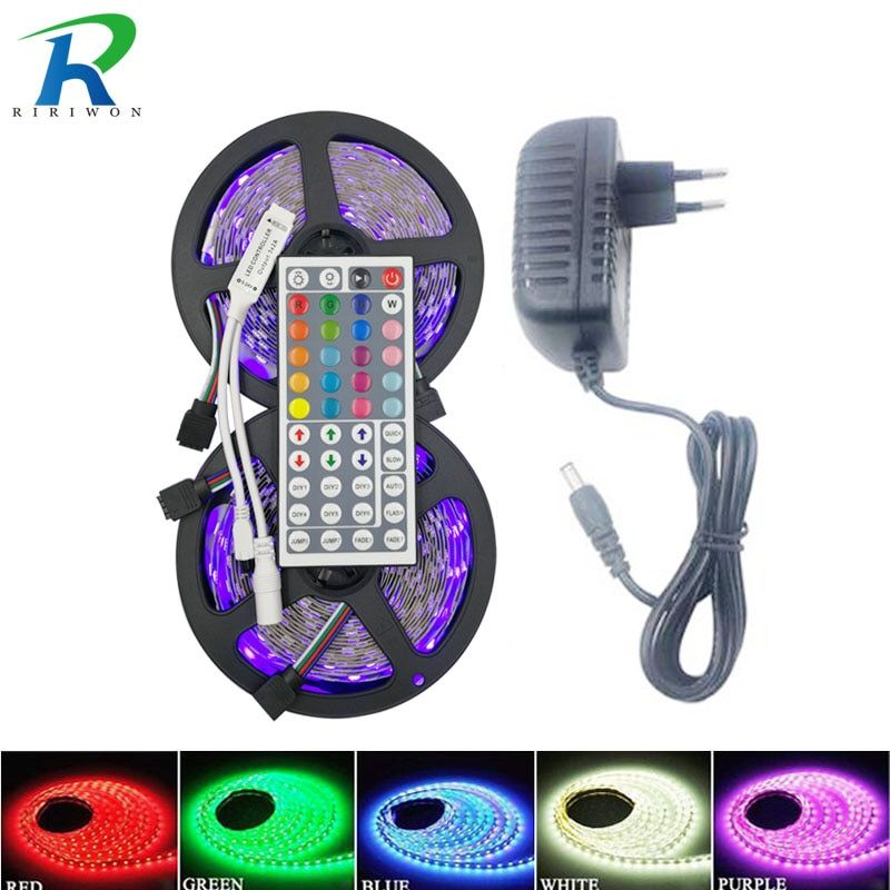 RiRi a remporté 5050 RGB LED Bande de lumière 30 LED 5 m 10 m 15 m flexible led Diode led Bande SMD 44 touches IR contrôleur 12 V Power Adapter ensemble
