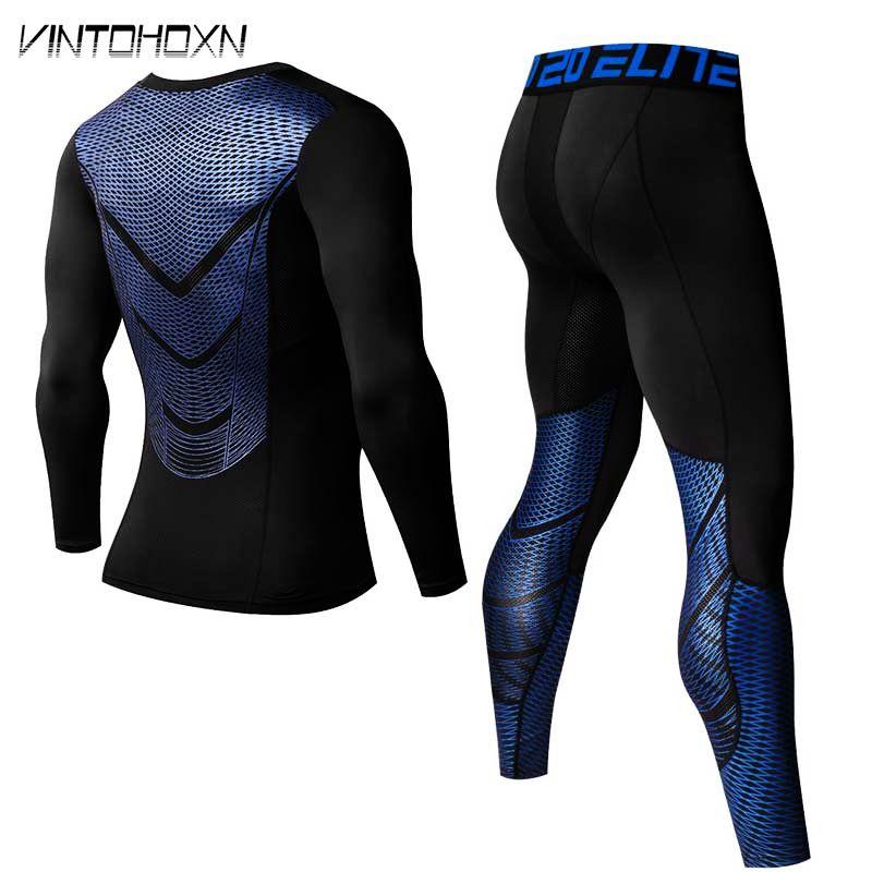 Männer Pro Quick Dry Kompression Lange Unterhosen Fitness Winter Gymming Männlichen Frühjahr Herbst Sport Läuft Workout Thermo-unterwäsche Sets