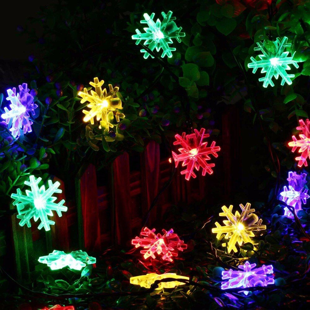 New arrive 20 LED Snow Flake Flowers Solar String Fairy Lights Waterproof Outdoor Solar String Lights Decorated Garden Christmas