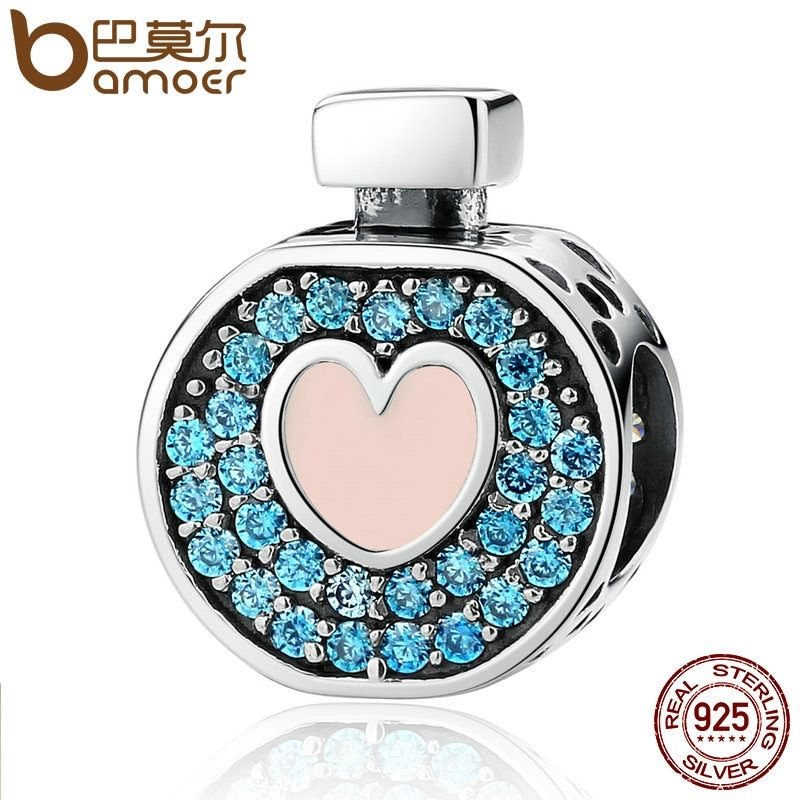 BAMOER Romantic 925 Sterling Silver Soft Pink Heart Blue Crystals Perfume Bottle Charms Fit DIY Bracelets Jewelry SCC094