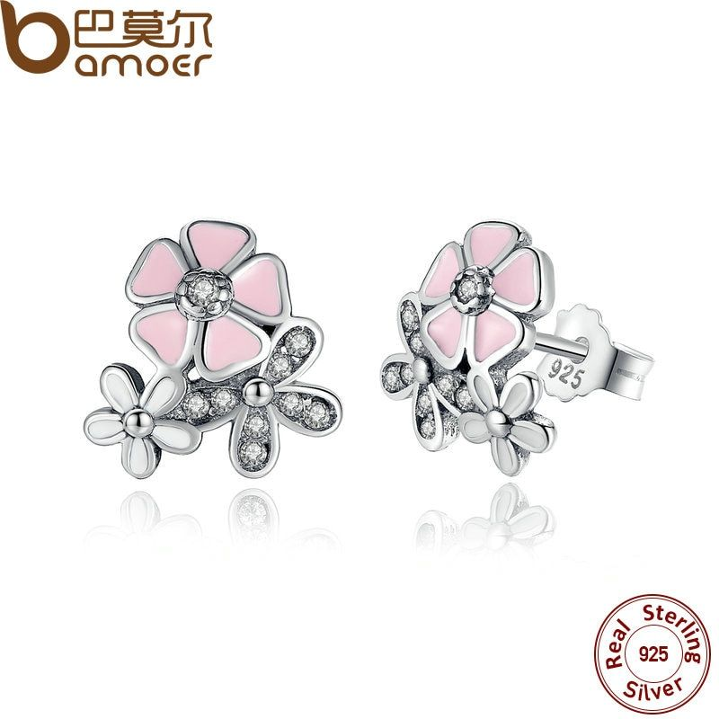 BAMOER 925 Sterling Silver Poetic Daisy Cherry Blossom Drop Earrings Mixed & Clear CZ Pink Flower Women Engagement PAS461