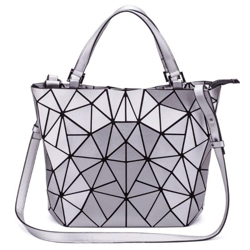 New Design Bag Women Geometric Diamond Tote Quilted Shoulder Bags Laser Plain Folding Handbags Free Shipping hologram bag