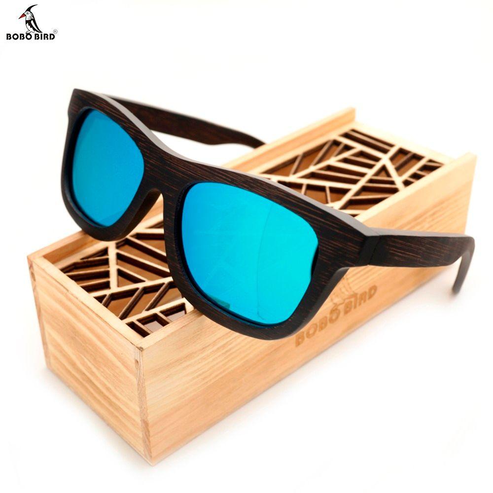 Bobobird Men's Retro Wooden Bamboo Sunglasses Square Piltor Summer Style Luxulry Brand Design Polaroid Sun Glasses in Gift Box