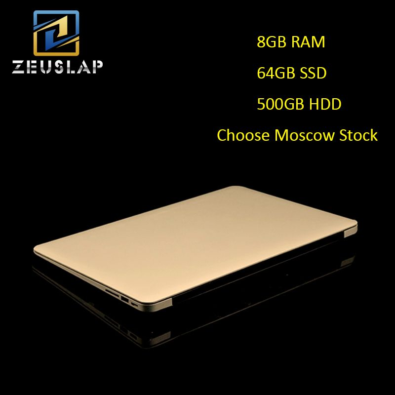 Russland Lager 14 zoll 8G RAM 64 GB SSD 500 GB HDD Quad Core Windows 10 System 1920X1080 P FHD Ultradünne Notebook Computer Laptop