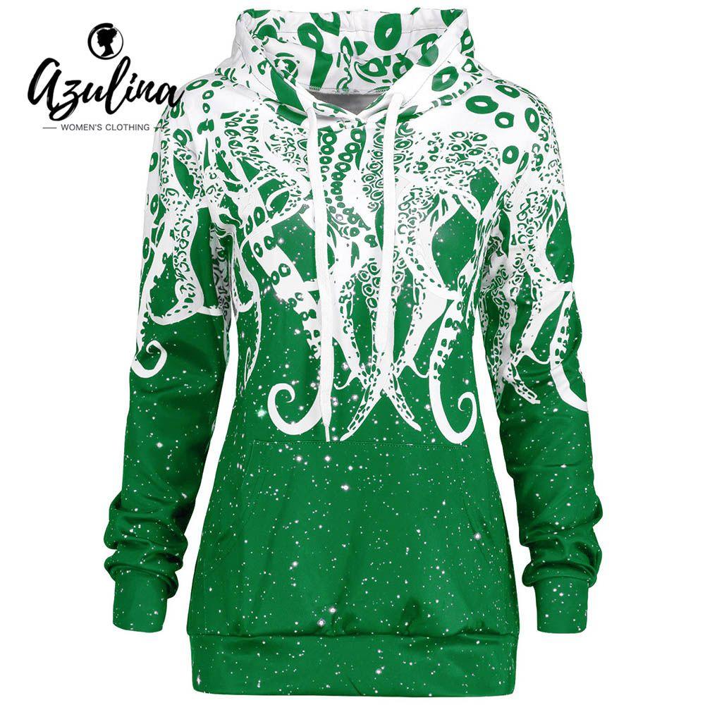 AZULINA Pullover Hoodie Women Casual 3D Octopus Kangaroo Pocket Hoodies New Fashions Winter Spring Women Tops Hooded Sweatshirt