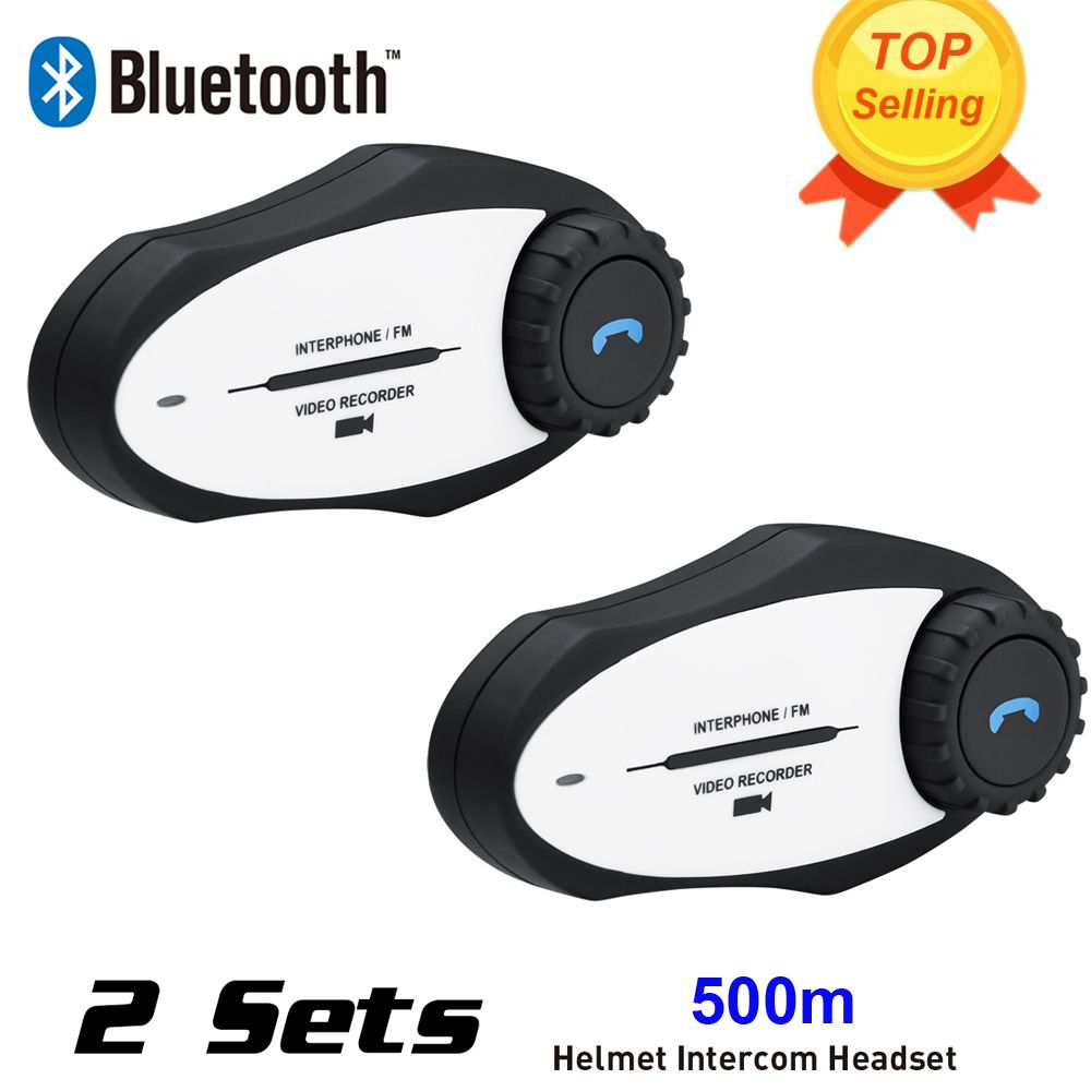 New 2Sets 720P Video Recorder Sports Camera 500M BT Bluetooth Motorcycle Helmet Intercom Interphone Headset with FM MP3 Function