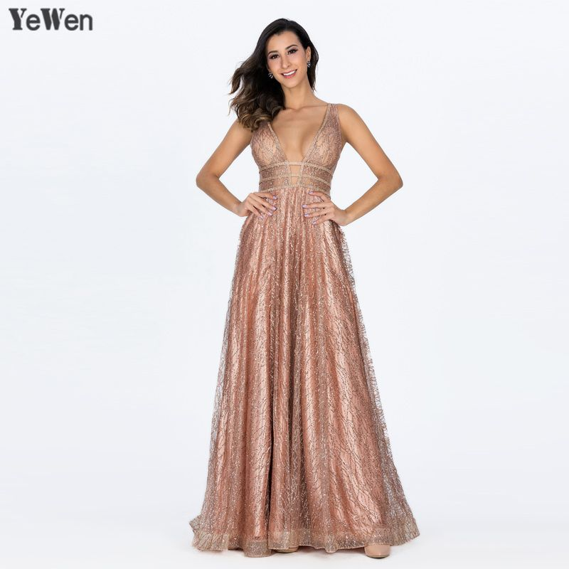 YeWen Pocket Luxury Bling Gold Deep-V Sexy Tulle Evening Dresses 2018 Sleeveless Backless Women Formal dress Evening Gowns Long