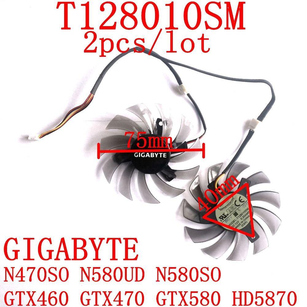 Бесплатная доставка 2 шт./лот T128010SM 75 мм 12 В 0.2a для Gigabyte n470so n580ud n580so GTX460 GTX470 GTX580 HD5870 Вентилятор охлаждения