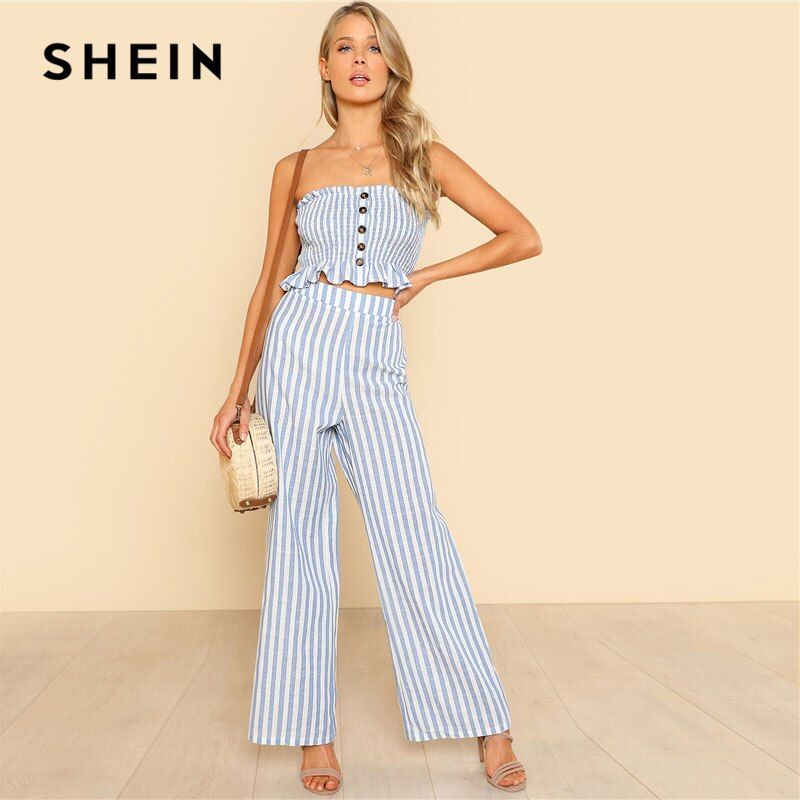 SHEIN Blue Ruffle Strapless Top & Pants Set Women Sleeveless Button Button Casual 2 Pieces Sets 2018 Beach Boho Twopieces