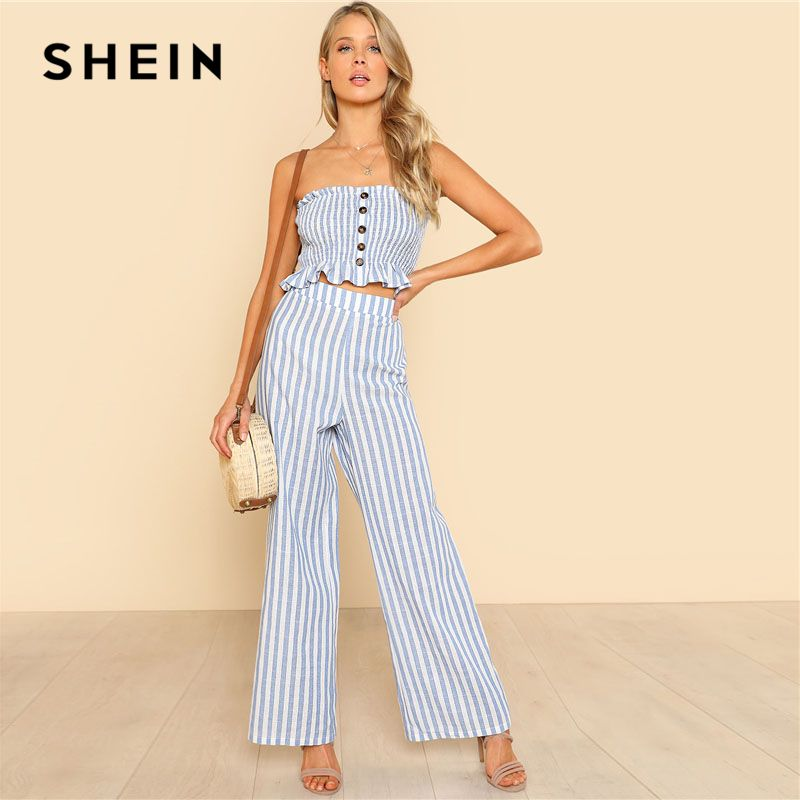 SHEIN Blue Ruffle Strapless Top & Pants Set Women Sleeveless <font><b>Button</b></font> <font><b>Button</b></font> Casual 2 Pieces Sets 2018 Beach Boho Twopieces