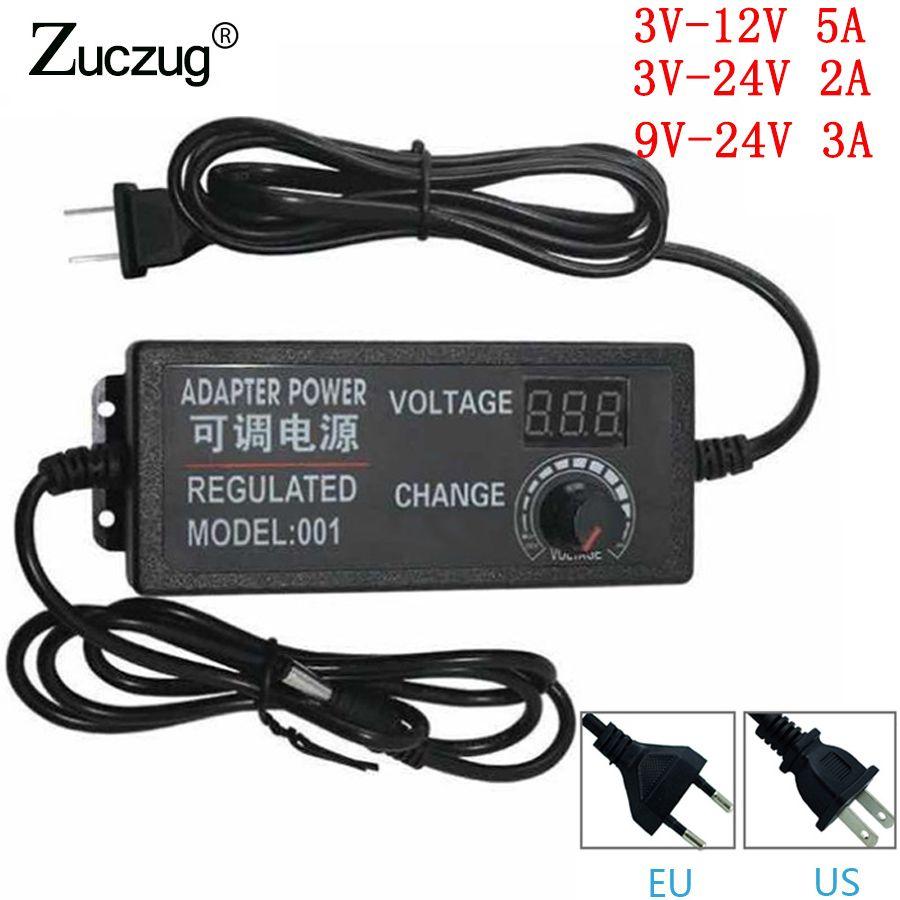 Adaptateur cc 3 V-12 V 3 V-24 V 9 V-24 V réglable AC 12 V changement universel 24 v prise adaptateur d'alimentation pour US EU plug chargeur