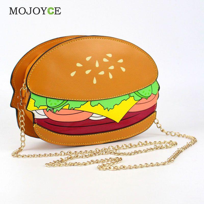 Unique Cartton Crossbody Bags for Women Hamburger French Fries Popcorn Shape Shoulder Messenger Bags Handbag  Bolsas Femininas