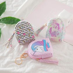 Fashion Women PU Unicorn Mini Wallet Card Key Holder Zip Coin Purse Clutch Bags