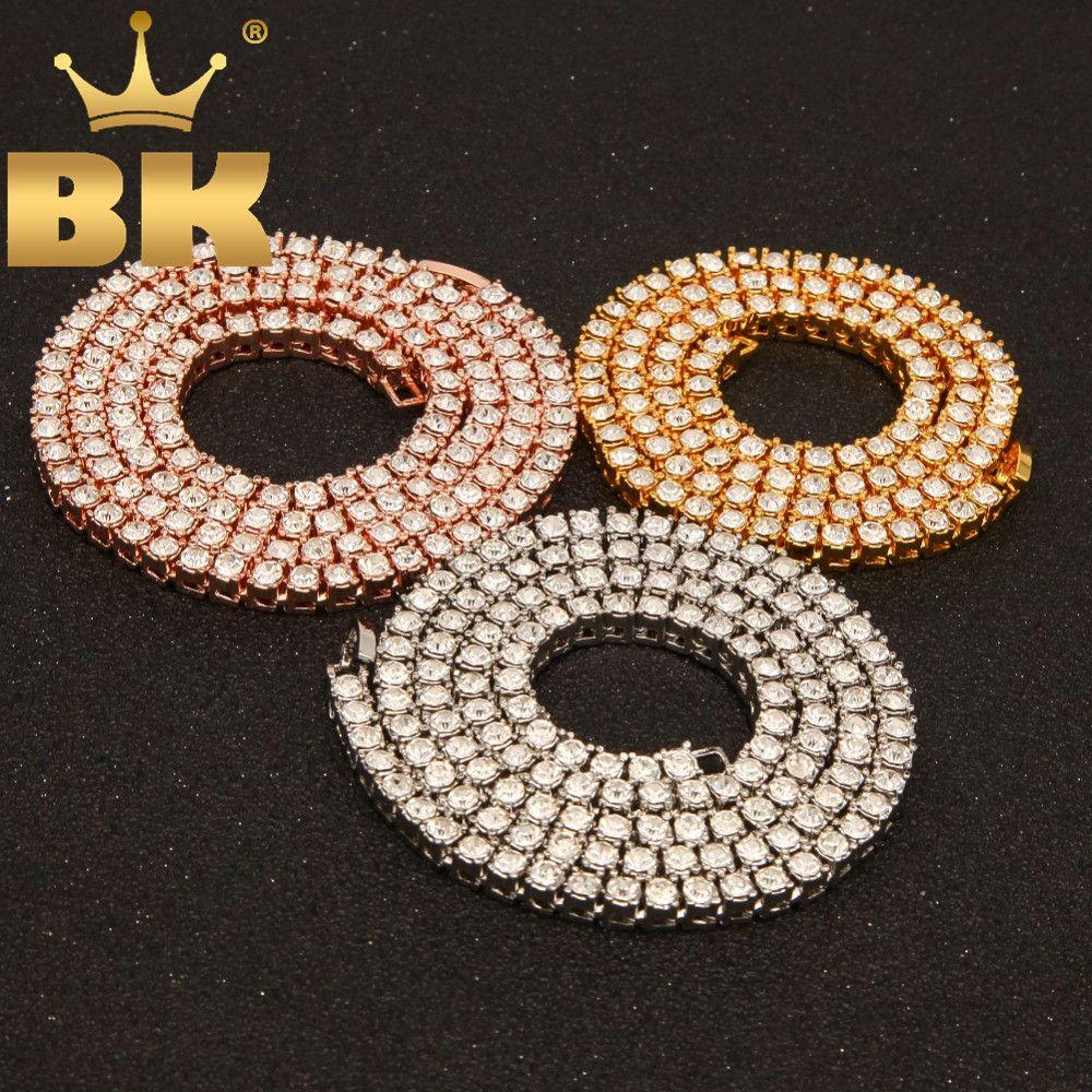 Hiphop Choker Bling glacé strass collier pour hommes 3mm 4mm 5mm largeur argent/noir/or Rose/or 1 rangée chaînes de Tennis