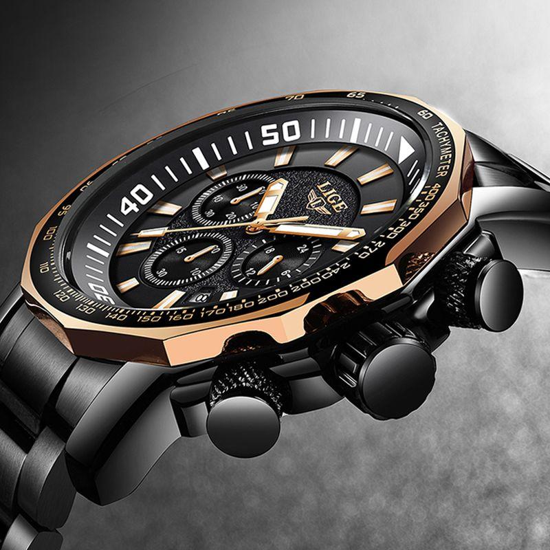 LIGE Military Waterproof Men Watches Business Fashion Top Quartz Watch Men Sports Casual Full Steel Watch Relogio Masculino+Box