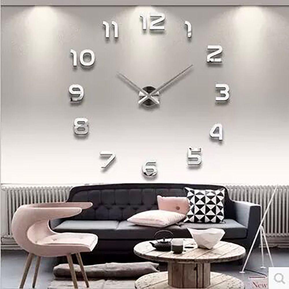 3d lumineux réel grande horloge murale précipité miroir mur autocollant bricolage salon décor à la maison mode montres Quartz grandes horloges murales
