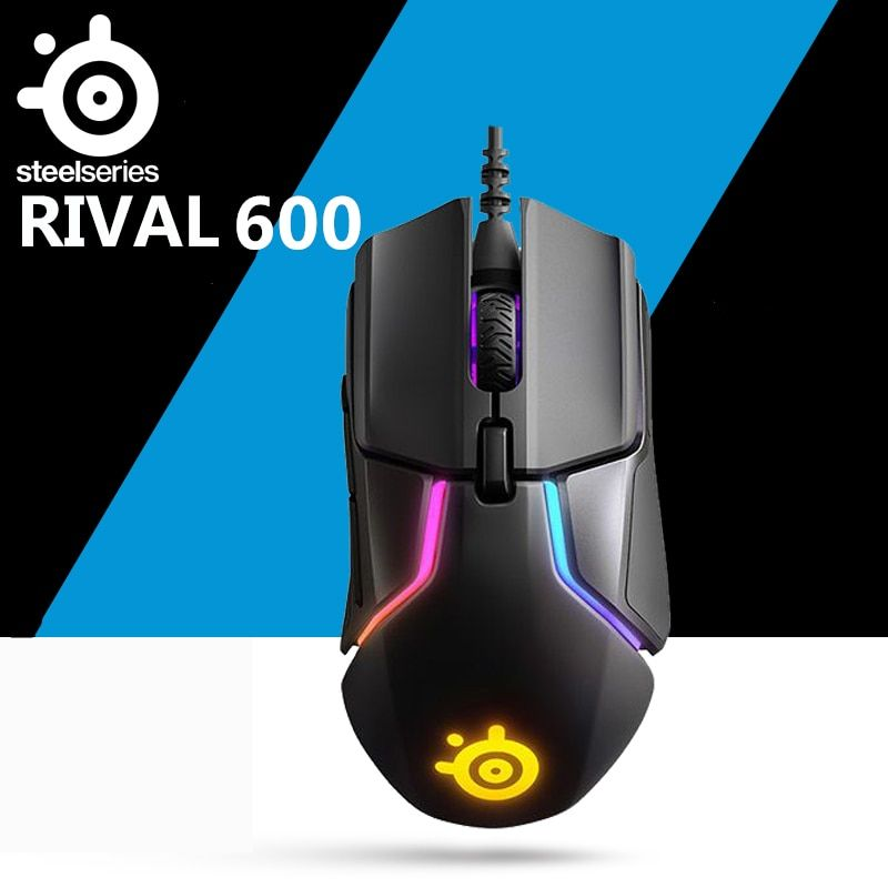 SteelSeries Rival 600 wired gaming mouse rgb macro programming dual sensor counterweight anti-skid free weight Mouse