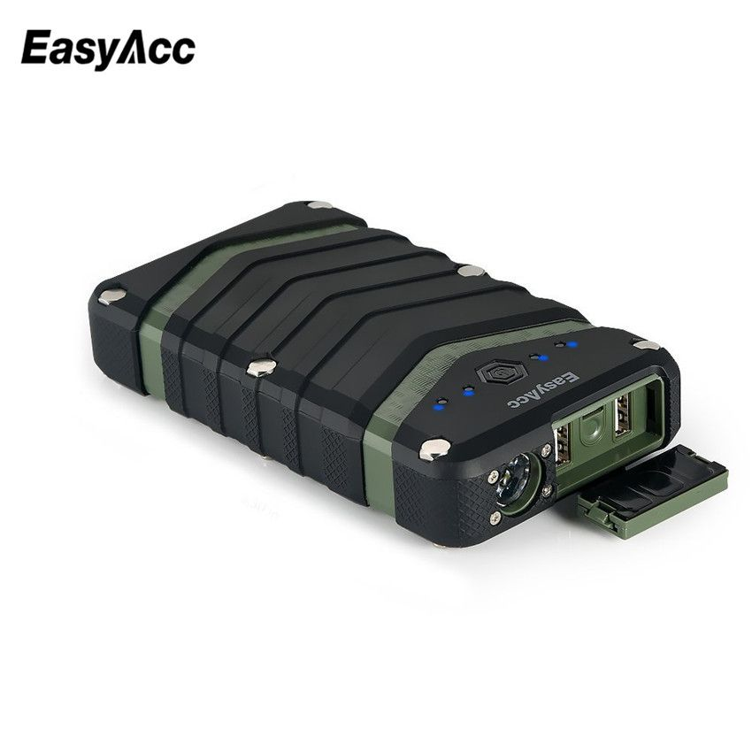 EasyAcc 20000mAh Power Bank portable charger 2USB 18650 External Battery with <font><b>Flashlight</b></font> for iPhone 7 6 6s Waterproof Shockproof