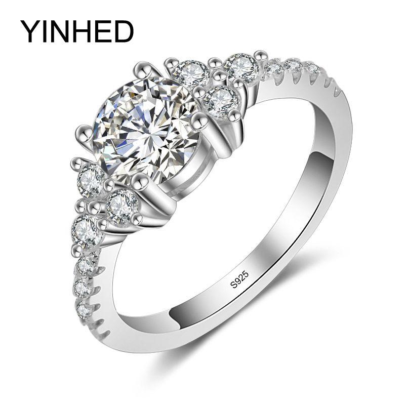 95% Venta!! YINHED Real Sólida Plata de ley 925 Anillo de 1 Quilates Cubic Zirconia CZ Joyas de Compromiso Anillo De Bodas Diamant ZR377
